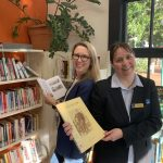 Councillor Fiona Cunningham at the Stones Corner Library with the Library Team Leader